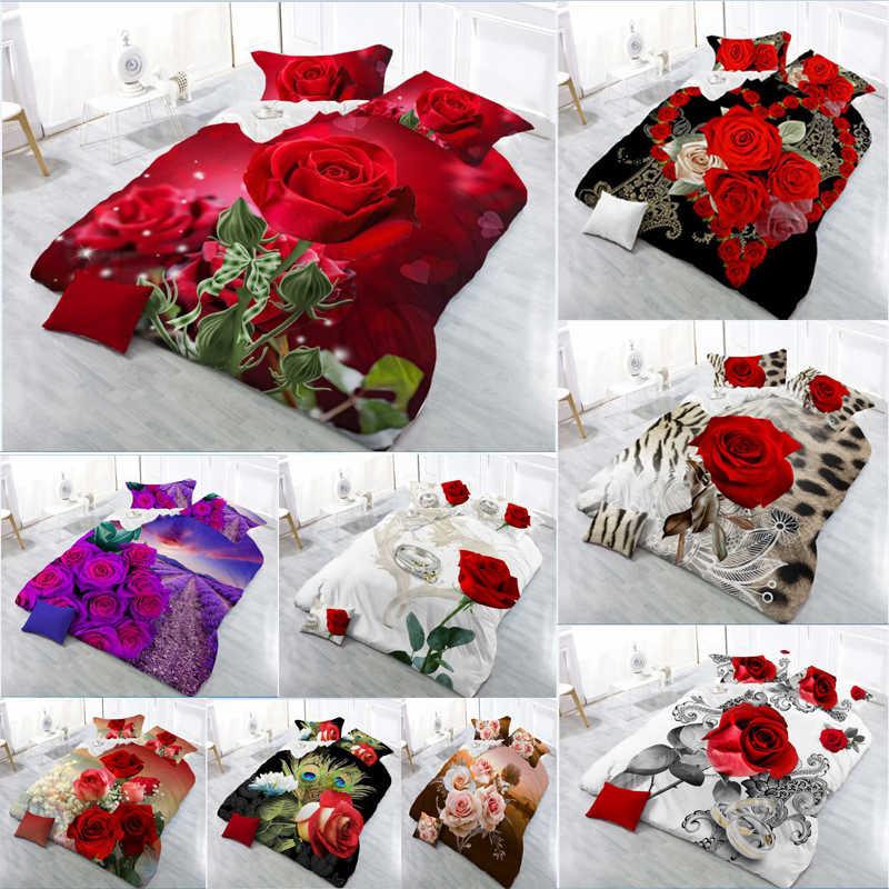 New Beautiful 3D Flower Rose Feast Pattern Bedding Set Bed sheets Duvet Cover Bed sheet Pillowcase 4pcs/set9