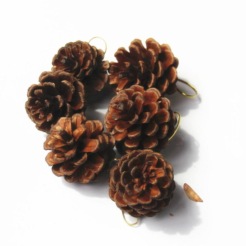 6 Pz Reale Naturale Di Natale Appeso Pigna Ornamenti Secchi Di Pino Coni Albero Di Natale Appeso Lavorazione Visualizza Ciotola Di Riempimento Decorazioni