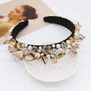 Image 2 - Jeweled Baroque Headband Women Wedding Bride Jewel Crystal Hairband Diamond Rhinestone Ladies Elegant Hair Accessories Headwear