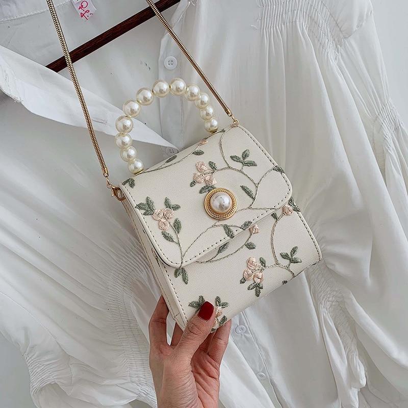 Embroidery Flowers Crossbody Bags Women 2019 Quality Leather Designer Handbags Ladies Hand Tote Bag Pearl Shoulder Messenger Bag