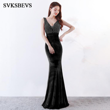 SVKSBEVS 2019 Sexy Deep V Neck Luxury Beading Velvet Mermaid Long Dresses Elegant Bodycon Backless Party Maxi Dress