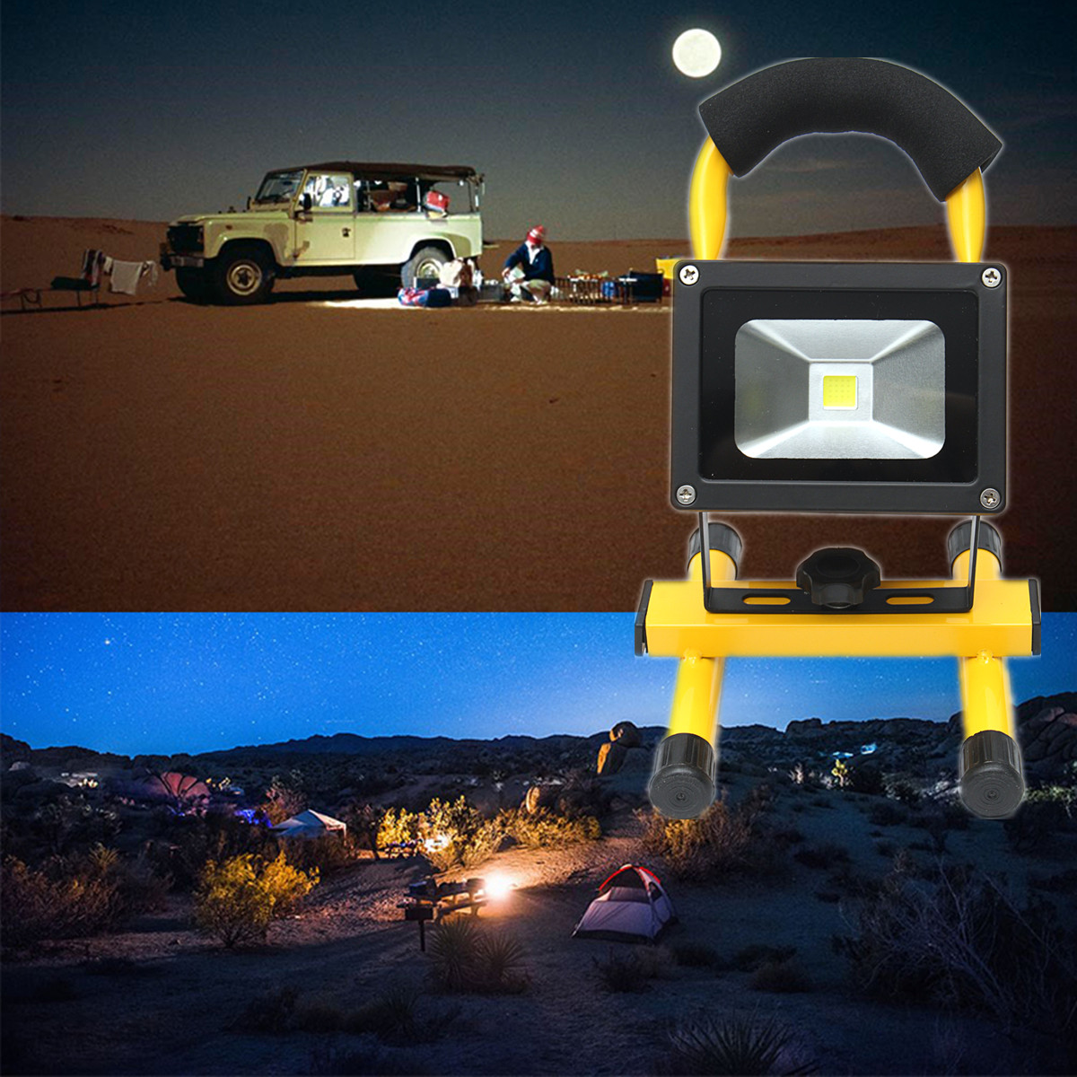 Waterproof Rechargeable 10W LED Floodlight Light Camping Lamp Outdoor Indoor Working US/EU Plug White Portable Gardens Workplace