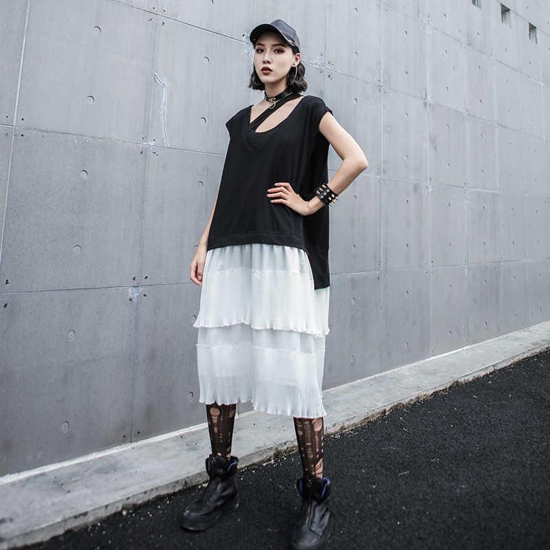 LANMREM 2019 летняя одежда для Новинки для женщин узор свободные большой размер без рукавов Разделение совместных контрастное цветное платье с жилетом YH13901