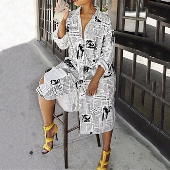 Fashion Newspaper Print Long Sleeve Shirt Dress Women Turn-down Collar Button Up Dress Female Streetwear Shirt Dress Vestidos turn down collar covered button spliced design long sleeve shirt for men