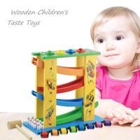 Funny Wooden DIY Track Learning Educational Toys Children Three in one Track Glider Inertia Montessori Toys for Children