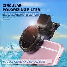 Zomei filtro de lente de cpl de 37mm, filtro profissional de câmera de celular para filtro universal de celular + clipe