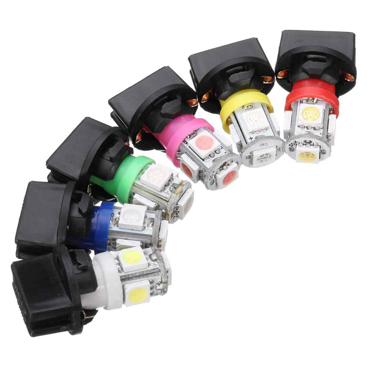 10x T10 W/Socket SMD 5050 194 LED Bulbs Instrument Panel Dashboard Glove Box Side Interior Gauge Cluster Dash Light Signal Lamp