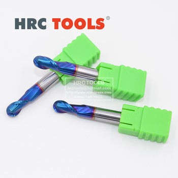 M27-R8x32Hx16Dx100L Solid carbide 2 Flute ball nose end mills with straight Slim shank milling cutter HRC65 naco Blue Coated