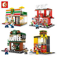 SEMBO Blocks Luxury Mini Shop Model Plastic Building Toy Chips Small Street Store Cute Kids toys for Children Gifts