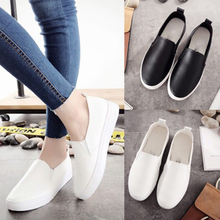 2019 Spring Women Flats Soft leather Loafers Ballet Flats Female Casual White Sneakers Shoes Women Slip On Round Toe Flat Shoes недорго, оригинальная цена