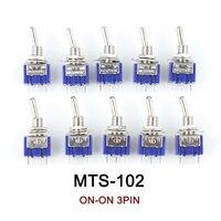 10 ピース/ロットブルーミニ MTS-102 3 ピン spdt オン-オン 6A 125VAC トグルスイッチ