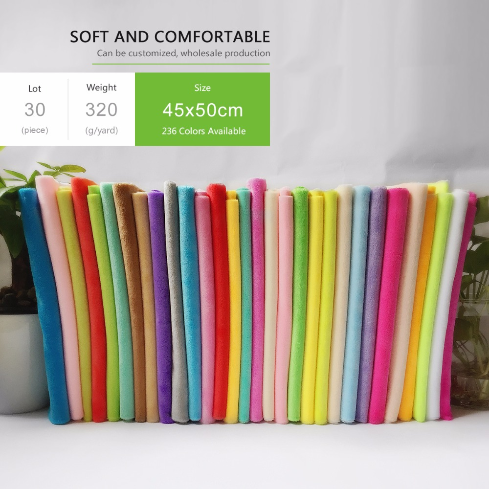 2019 Top Quality Random Color 30pcs Lot 45X50cm 100 Polyester fabric For Making Plush Toy Pillow