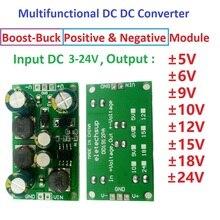 תכליתי DC DC ממיר Step up צעד למטה כפולה מתח רגולטור מודול קלט 3 24V פלט + 5V 6V 9V 10V 12V 15V 18V 24V