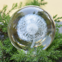 Internal Carved Dandelion Clear Round Glass Artificial Crystal Ball Sphere Decor
