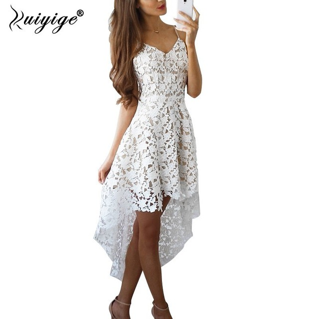 860a5e77d7 Ruiyige 2019 New Summer Lace Dress Women Casual V Neck Sleeveless Solid  Mini Party Dresses Hollow