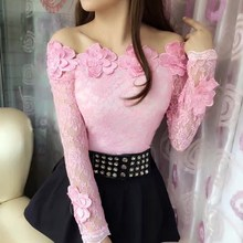 Spring Long Sleeve Mesh Lace Blouse Women Floral Solid Shirt Off Shoulder Ladies Slim Blouse Blusas Tops