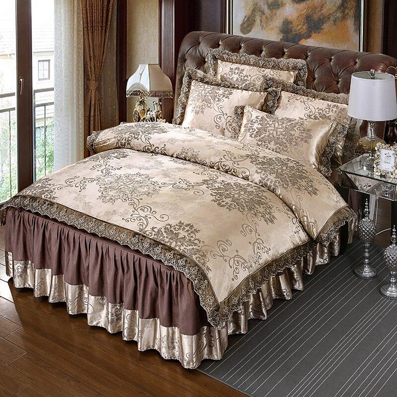 4pcs Satin Luxury Lace Bedding Sets Queen King Size Duvet Cover