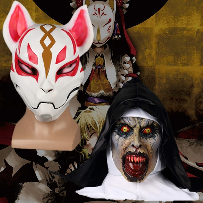 Halloween Cosplay Mask Fate The Nun Mask Costume Movie Game Fox Headwear Latex Adult Halloween Accessory Emulsion Party Carnival