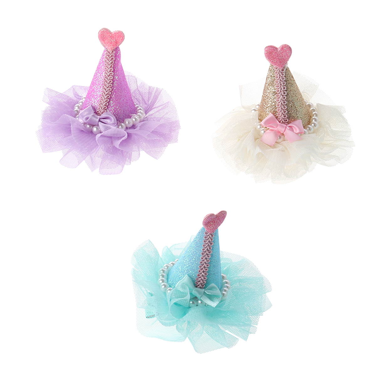 3pcs Adorable Cute Cat Dog Pet Birthday Party Hat Shaped Hair Clips (purple, Green And Gold)