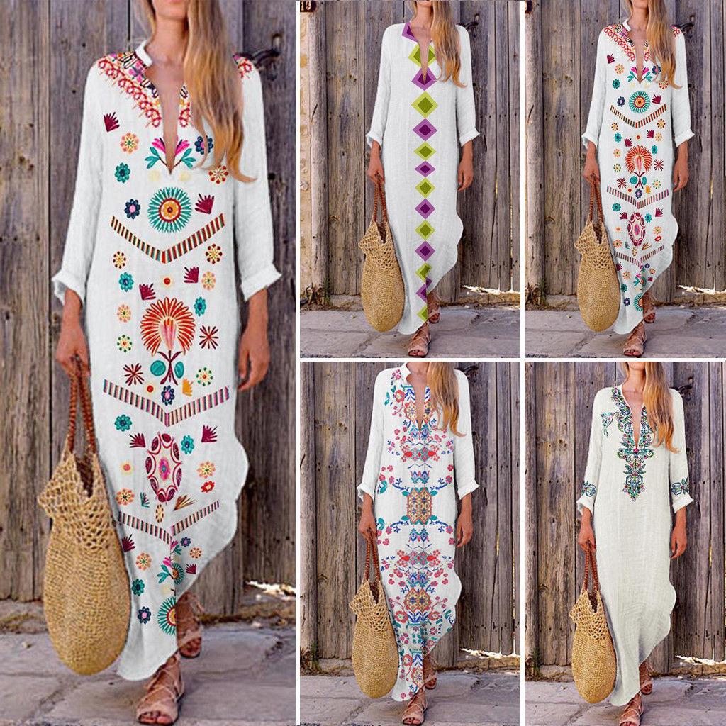 0690eb3df De las mujeres de la moda Boho largo Maxi Vestido Mujer fiesta vacaciones  playa vestido de verano vestido Indie Folk directamente impresión dividir  vestidos