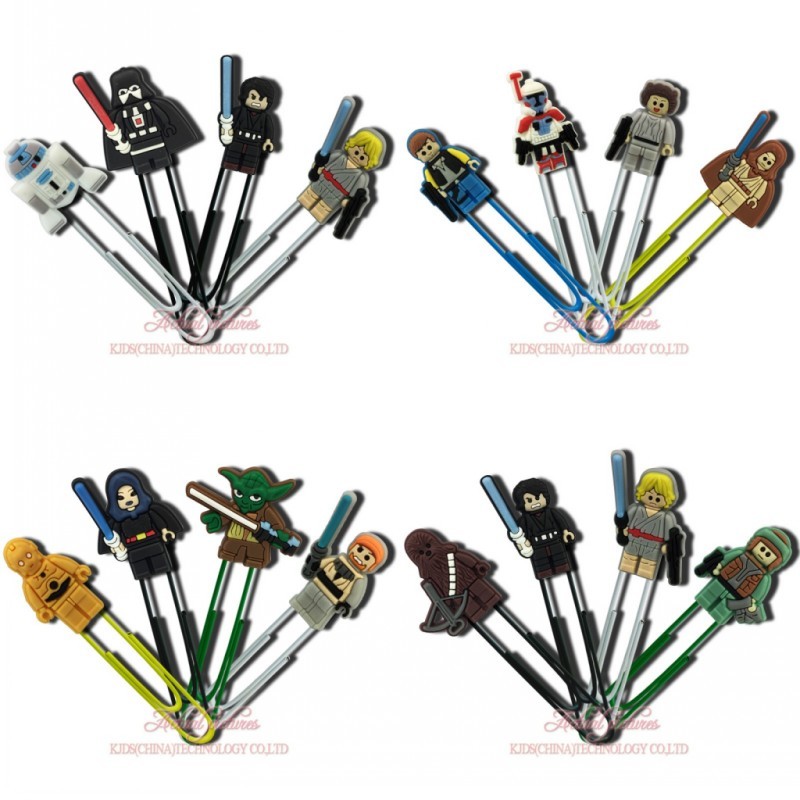 8pcs Star Wars Cartoon Figure Superhero Bookmark Paper Clips Office School Stationery Supplies Page-makers Kid Gift
