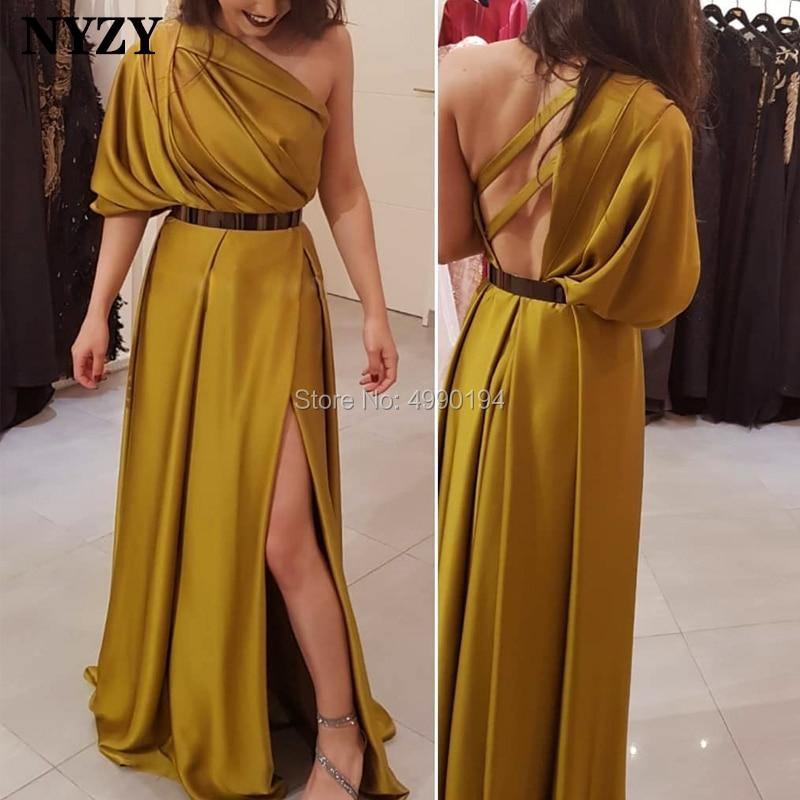 NYZY E73 New Arrival Soft Satin One Sleeve Leg Cut High Slit Formal Dress Arabic Evening Dress Gold 2019 robe soiree dubai