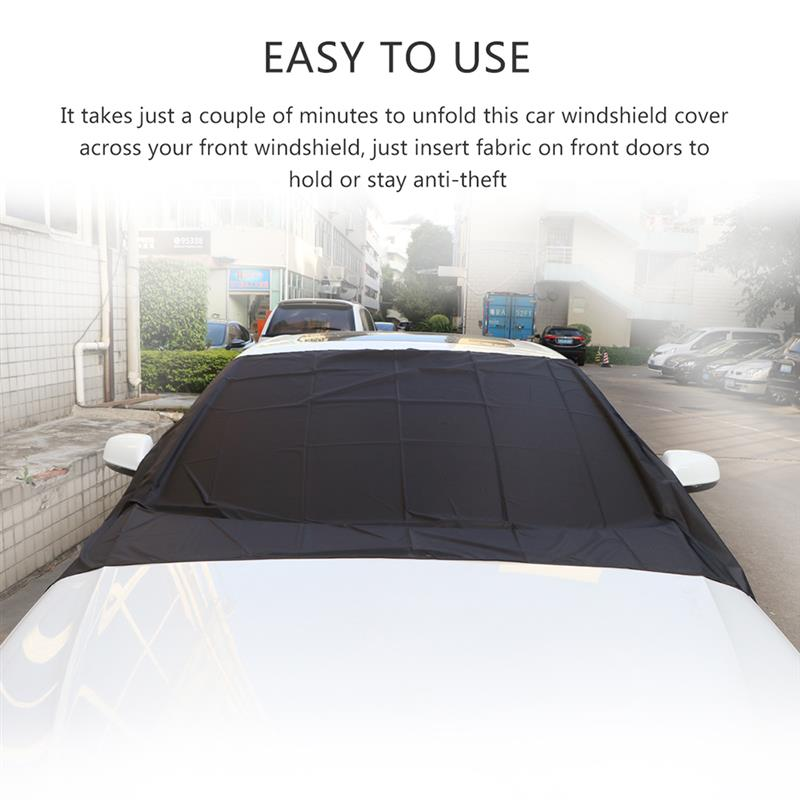 Image 4 - Car Exterior Accessories Windshield Snow Cover Sun Cover Auto Sunshade Tarp Magnetic Edges Remove Ice Frost Polyester Easily-in Windshield Sunshades from Automobiles & Motorcycles