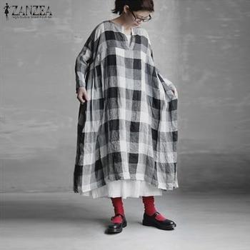 ZANZEA Plaid à carreaux longue Robe femmes Vintage coton linge Vestido dames printemps à manches longues lâche caftan robes Robe grande taille