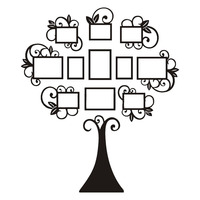 1 Set Black Photo Frame Family Tree Picture Collage Wall Art Hanging Home Decor