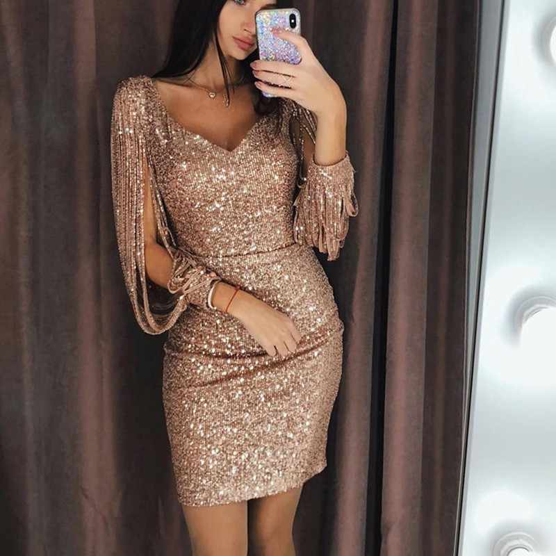 Detail Feedback Questions about 2018 New Women Sexy Tassel Detail Sequin  Party Dress Slit Sleeve V neck Club Mini Dress Autumn Long Sleeve Elegant  Sparkly ... 94d132d922bf