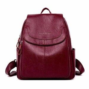 Image 1 - 2019 حقيبة ظهر مصنوعة من الجلد عالية الجودة كيس دوس السيدات على ظهره الفاخرة مصمم سعة كبيرة عادية Daypack فتاة Mochilas