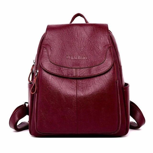 2019 حقيبة ظهر مصنوعة من الجلد عالية الجودة كيس دوس السيدات على ظهره الفاخرة مصمم سعة كبيرة عادية Daypack فتاة Mochilas
