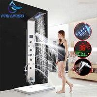 Светодио дный смеситель для душа цифровой дисплей панель для душа башня душевая Колонка водопад светодио дный светодиодная душевая головк