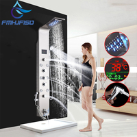 LED Bath Shower Faucet Digital Display Bath Shower Panel Tower Shower Column Waterfall LED Shower Head W Body Masssage SPA Jet