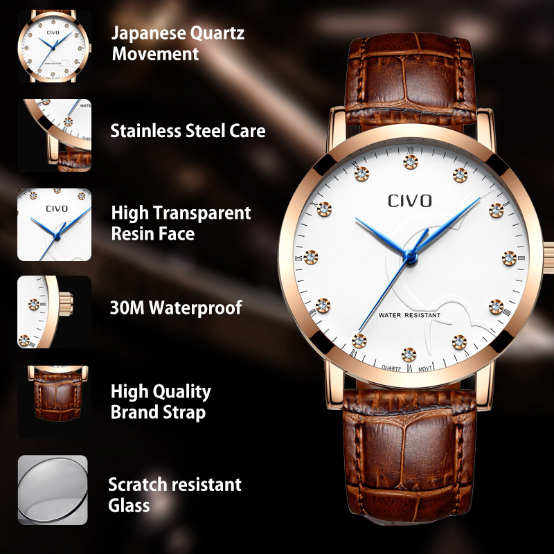 CIVO Mens Watches Luxury Waterproof Analogue Date Watch Men Fashion Casual Brown Genuine Leather Quartz Wrist Watches Men Clock in Quartz Watches from Watches