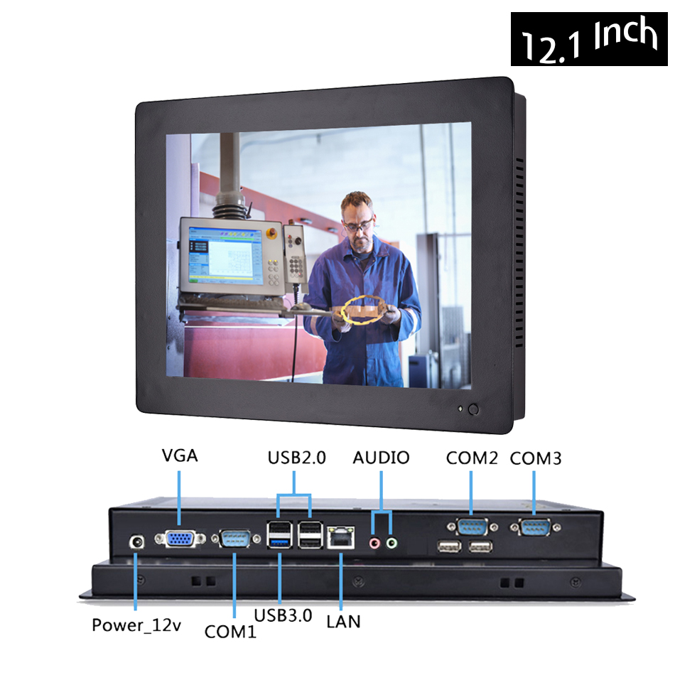 12.1 Inch Industrial Touch Panel PC,4 Wires Resistive Touch Screen,Intel J1900,All In One Computer,Wins 7/10,Linux,[HUNSN DA12W]