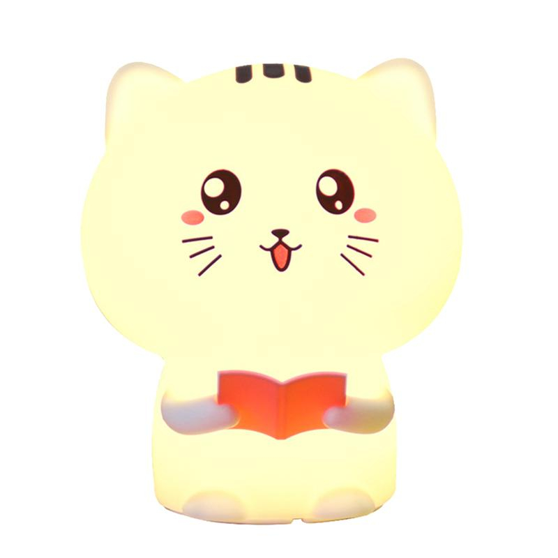 Creative Cute Cat Led Children Kids Baby Night Light Lamp Multicolor Silicone Soft Nursery Sensitive Tap Control Bedside LampCreative Cute Cat Led Children Kids Baby Night Light Lamp Multicolor Silicone Soft Nursery Sensitive Tap Control Bedside Lamp