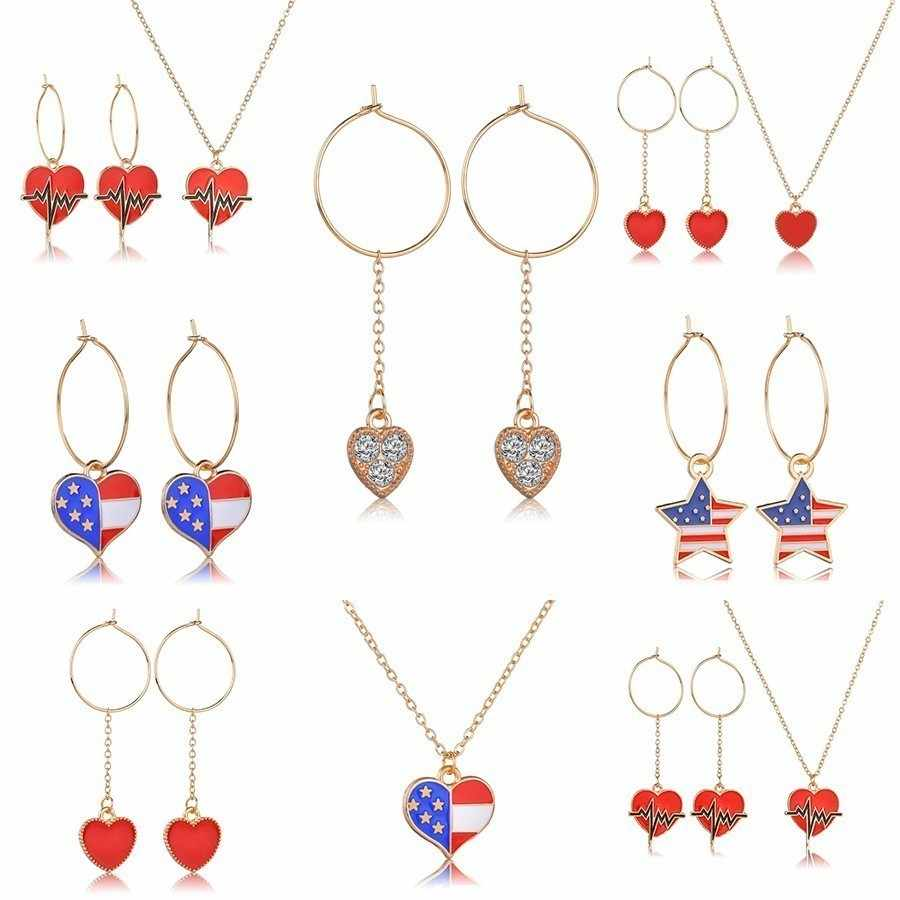 New Women Trendy Heart Pattern Necklace Earring Sets Hand Made Great Fashion Style High Quality Party Jewelry Sets For Girls