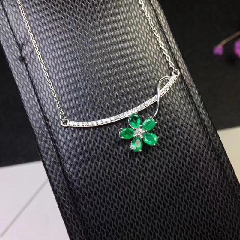 Elegante verde smeraldo del pendente per il partito 5 pz naturale SI grado smeraldo ciondolo collana in argento solido 925 argento smeraldo gioielli - 2
