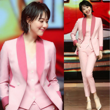 Set womens fashion temperament pink color matching small suit Slim jacket + vest nine pants three sets of professional suits