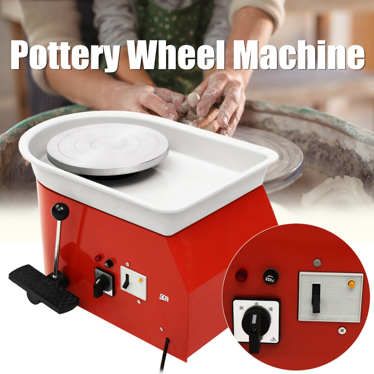 Electric Pottery Wheel 25cm Pottery Forming Machine 220V 250W DIY Clay Sculpting Ceramic Machine Reversible Variable Speed