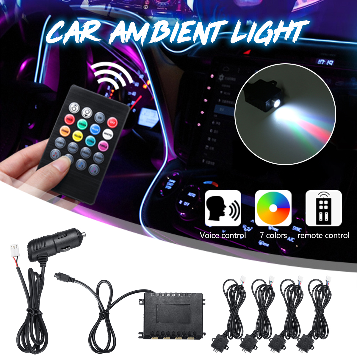 Car Light RGB Ambient Lamp 12V Fiber Optic LED Light Voice/Remote Control Interior Decorative Atmosphere Lamp Auto Accessories