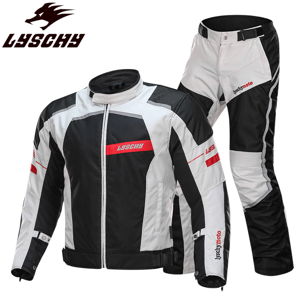 LYSCHY Riding Moto Motorcycle Jacket Reflective Body Armor Coat Clothing Suit Protection Man Racing Clothes Jackets Pants