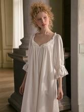 Bông Váy Ngủ Nữ Ngọt Ngào Đáng Yêu Đồ Ngủ Trắng Váy Ngủ Mùa Xuân, Mùa Thu Giải Trí Thời Trang Cotton Đồ Ngủ Ban Đầu