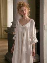 Bawełniana koszula nocna kobiety słodka urocza bielizna nocna biała koszula nocna wiosna jesień rozrywka moda bawełniana bielizna nocna oryginalna tanie tanio HIGHNESS MOON COTTON Połowy łydki WOMEN Koronki Połowa 190307 Stałe Koszule nocne Wokół szyi