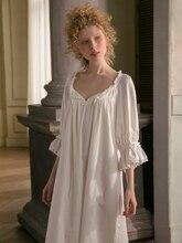 Camisón de algodón para mujer, bonito, blanco, primavera y otoño, Original