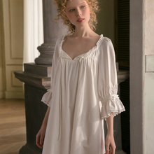 Nightgown Spring Sleepwear White Women Fashion Autumn Sweet Cotton Leisure Lovely Original
