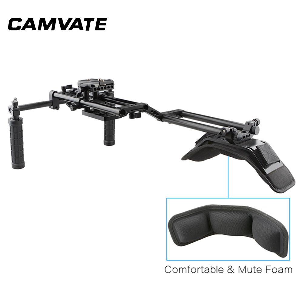 CAMVATE Aluminum Shoulder Rig/ Manfrotto QR Baseplate Shoulder Pad for DSLR Kit  ER114-in Photo Studio Accessories from Consumer Electronics    1