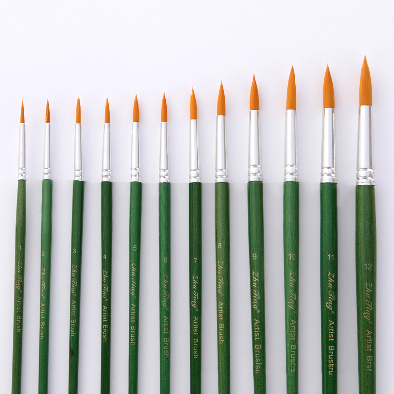 12Pcs/Lot Nylon Pointed Flat Headed Watercolor Paint Brushes Green Handle Gouache Acrylic Painting Acrylic Brushes Art Supplies