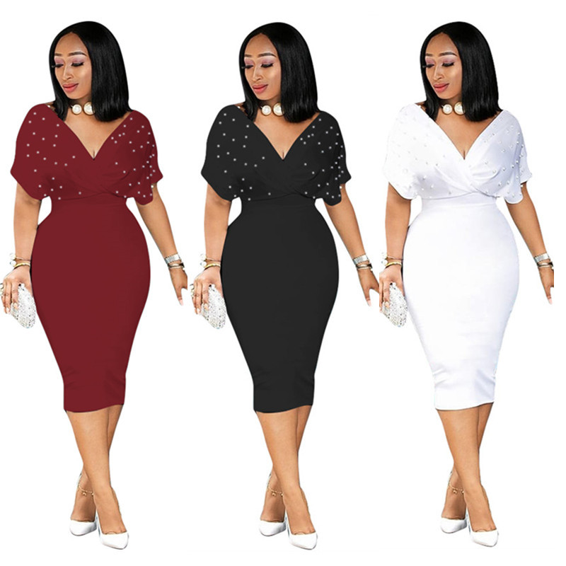 Hot Sale Rushed Polyester Solid Half Regular Summer Dress 2019 Sexy Fashion Style Women V-neck Knee-length Dress